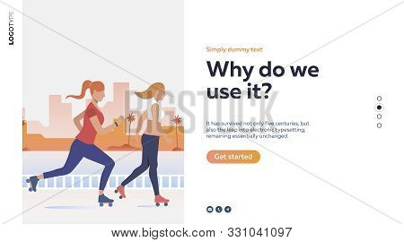 Women Rollerskating Near River. Sport, Leisure, Active Lifestyle Flat Vector Illustration. Outdoor A