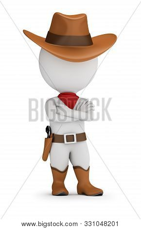 3d Small Person - Cowboy Is Standing In A Confident Pose With His Arms Folded Across His Chest. 3d I