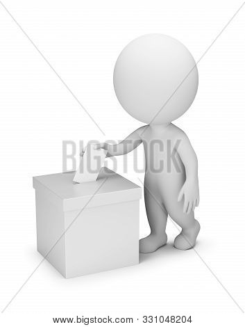 3d Small People - Voting. 3d Image. White Background.