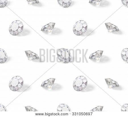 Seamless Isometric Pattern Of Diamonds. 3d Image. White Background.
