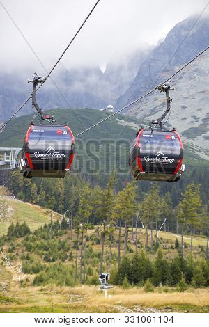 Vysoke Tatry, Slovakia - October 2, 2019: Cable Way In Tatranska Lomnica Resort, High Tatras Mountai
