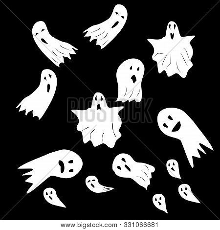 Halloween Ghosts. Ghostly Monster With Scary Face Shape. Ghost White Fun Cute Evil Horror. Fantasy S