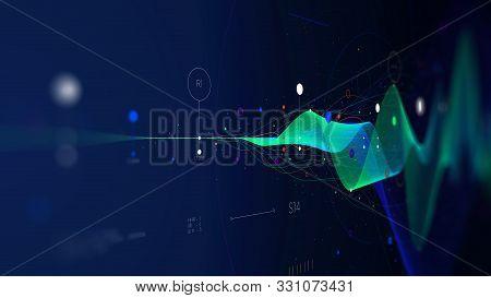 Big Data Stream Futuristic Infographic Business Analytics Presentation, Monitor Screen In Perspectiv