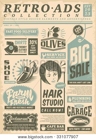 Retro Newspaper Ads Page With Promo Advertisements. Vintage Newsprint  Letterhead. Vector Illustrati