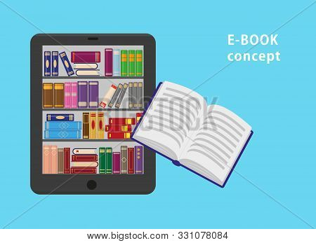 E-book With Bookshtlves On The Screen And One Flying Paper Book. Flat Vector Illustration For E-book