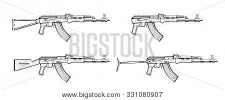 Vector Sketch Set Of Weapons. Assault Gun Wireframe. Machine Guns, Assault Rifles, Old And Modern. A