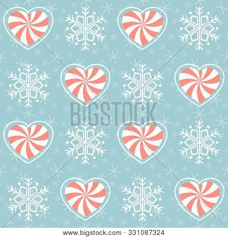 Christmas Pattern. Seamless Vector Illustration With Heart-shaped Candies And Snowflakes