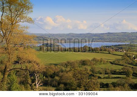 View to Chew Valley Lake reservoir