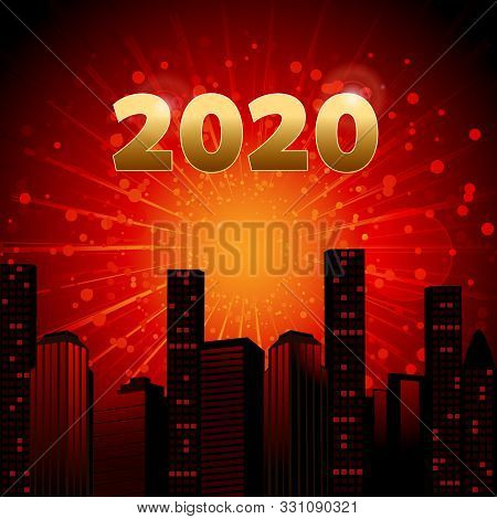 2020 Celebration Red And Yellow Background With Abstract Cityscape Date And Starburst