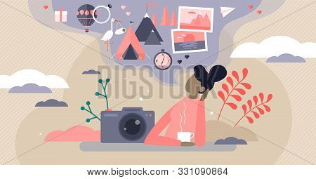Sweet Memories Vector Illustration. Flat Tiny Nostalgia Feeling Person Concept. Remember Good Times