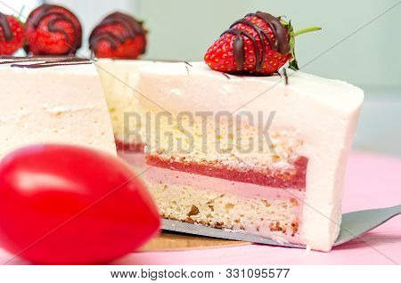 Strawberry Mousse Cake, Cheesecake With Fresh Strawberries On Pink Background. Tasty Strawberry Mous