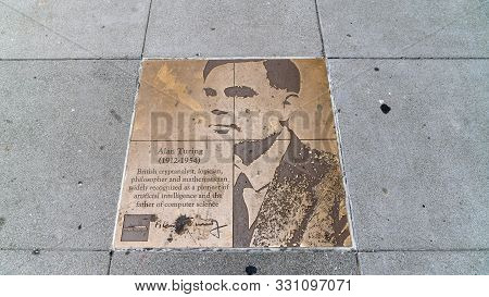 San Francisco, Usa - August 2019: Tribute Bronze Plaque On Rainbow Honor Walk To Alan Turing, The Ma