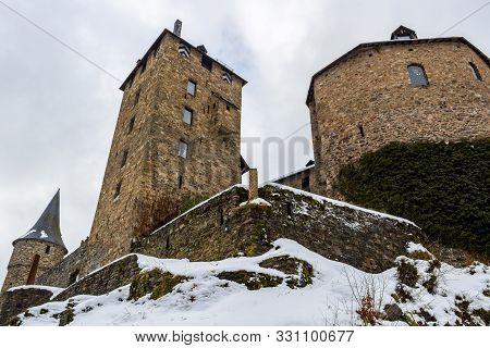 Burg Reinhardstein Or Reinhardstein Castle Buildings In Ovifat, Belgium In Winter, Low-angle View