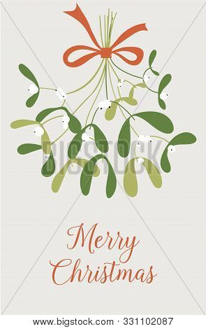 Hand Drawn Mistletoe. New Year And Christmas Objects And Elements Of Nature. Vector Illustration Of
