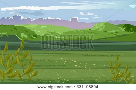 Pastoral Scenery Of Green Field With Tea Leaves On Foreground. Mountains And Cloudy Sky. Vector