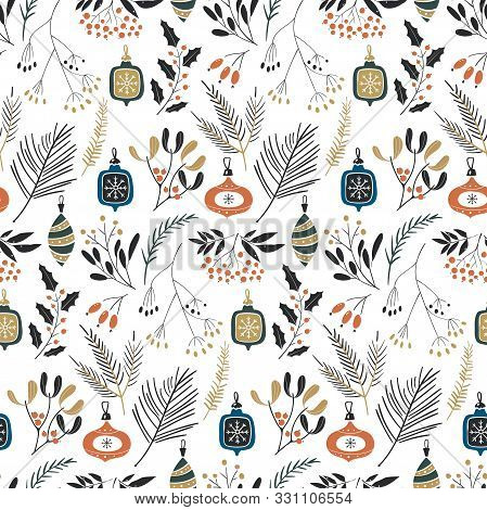 Floral Winter Illustration. Hand Drawn Seamless Christmas Pattern With Green Spruce Branches, Mistle
