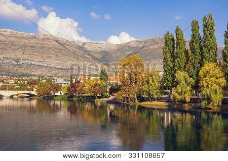 Beautiful Autumn Landscape. View Of Trebisnjica River On Sunny Day. Bosnia And Herzegovina, Republik