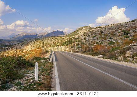 Road Trip Through The Balkans. Autumn Mountain Landscape. Dinaric Alps, Bosnia And Herzegovina, Repu