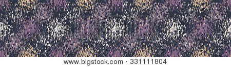 poster of Spliced stripes geometric variegated border background. Seamless edging pattern random dot dye broken lines. Boho gradient textile blend. Trendy disrupted confetti dots ribbon trim. Gold Purple