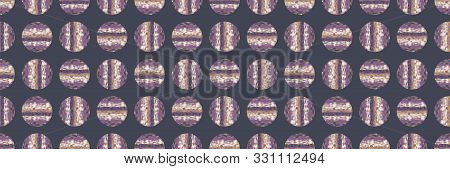 Dotty Moody Polka Dot Seamless Border Pattern. Modern Geometric Wax Batik Style Banner Edge Circle.