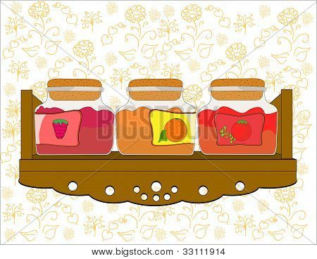 shelf with jars of jam vector