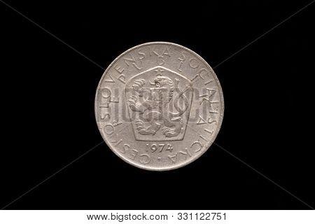 Czechoslovak Socialist Republic Old 5 Koruna Coin From 1974, Obverse Showing The Socialist Coat Of A