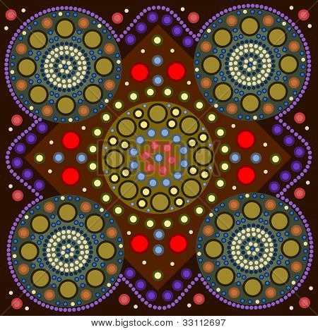 A Illustration Based On Aboriginal Style Of Dot Painting Depicting A Border