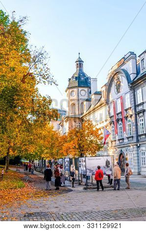 Plzen, Czech Republic - Oct 28, 2019: Smetanovy Sady In Pilsen, Czechia. Outdoor Exhibition In From