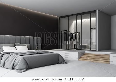 Dark Gray Master Bedroom Corner With Wardrobe