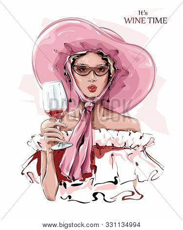 Hand Drawn Beautiful Young Woman In Pink Hat. Fashion Woman With Glass Of Wine. Stylish Girl In Sung
