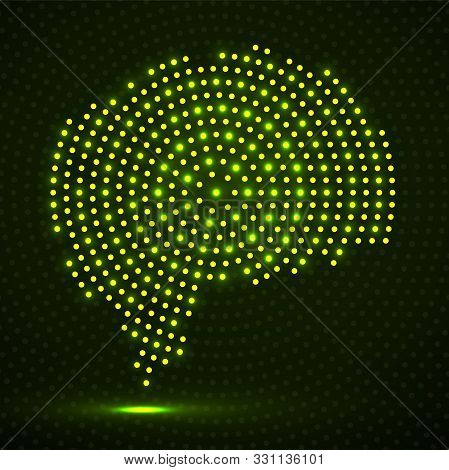 Abstract Brain Of Glowing Radial Dots. Vector