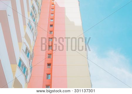 High Rise Building Balconies Residential Colorful Pink
