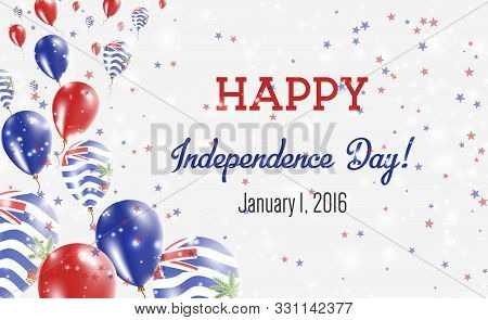 British Indian Ocean Territory Independence Day Greeting Card.. Flying Balloons In British Indian Oc