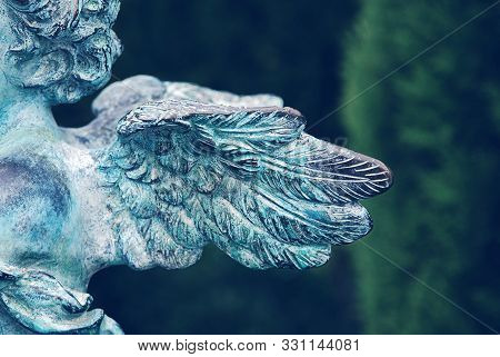 Side View Of Guardian Angel Wings At Old Cemetery