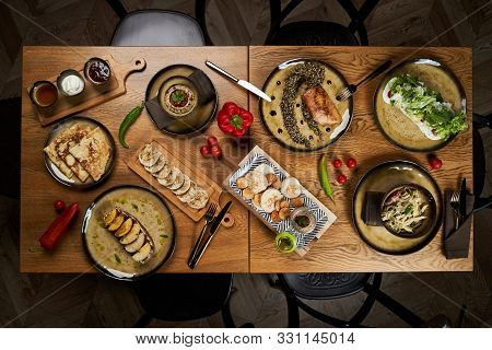 Assorted Food Set On Wooden Table. Luxury Restaurant Food