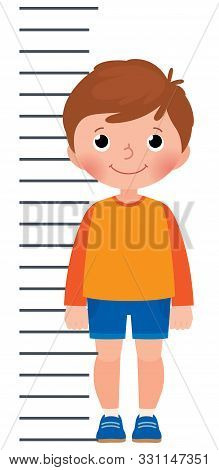 Little Boy Is Measuring The Growth On The Background Measuring Scale Vector Cartoon Illustration