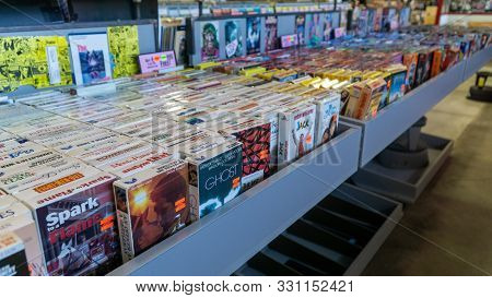 San Francisco, Usa - August 2019: Bunch Of Vhs Movies At A Thrift Store In San Francisco