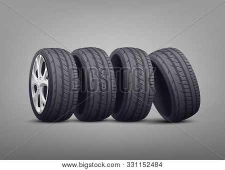 Stack Of Car Tires And Wheels Photo Realistic Vector Illustration On Background.