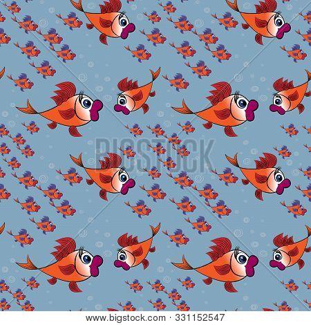 Childrens Illustration, Design, Pattern - A Surprised Flock Of Goldfish With Purple Fins On A Backgr
