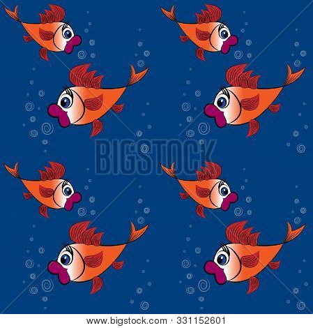 Childrens Illustration, Design, Pattern - A Pair Of Surprised Goldfish With Big Red Lips And Huge Ey