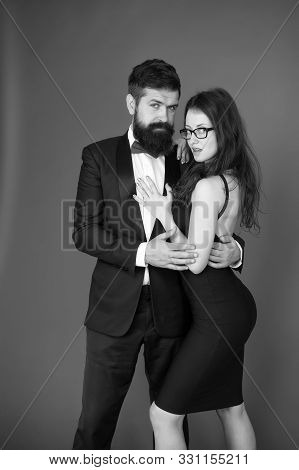 Gentleman and lady. Formal party. Formal gentleman and lady. Couple in love on date. business meetinf of bearded man and woman. esthete. Romantic relationship. bearded gentleman and sexy lady. poster