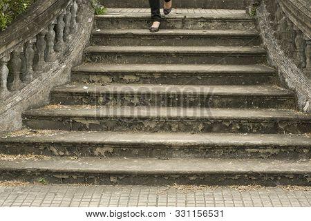 Hue, Thua Thien-hue, Vietnam - February 27, 2011: Tourist Walking Down The Staircase At Forbidden Pu