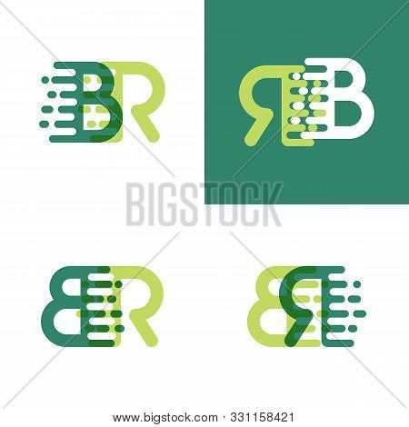 Br Letters Logo With Accent Speed In Light Green And Dark Green