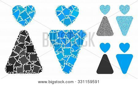 Lovers Mosaic Of Irregular Elements In Different Sizes And Color Tones, Based On Lovers Icon. Vector