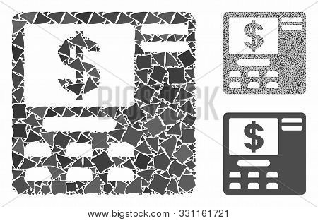 Dollar Atm Mosaic Of Abrupt Elements In Variable Sizes And Color Tints, Based On Dollar Atm Icon. Ve