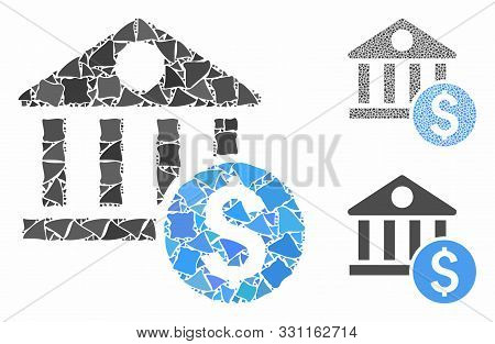 Dollar Bank Composition Of Trembly Parts In Various Sizes And Color Hues, Based On Dollar Bank Icon.