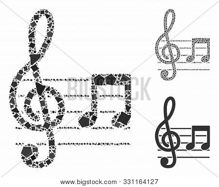 Musical Notation Mosaic Of Rough Parts In Various Sizes And Color Hues, Based On Musical Notation Ic