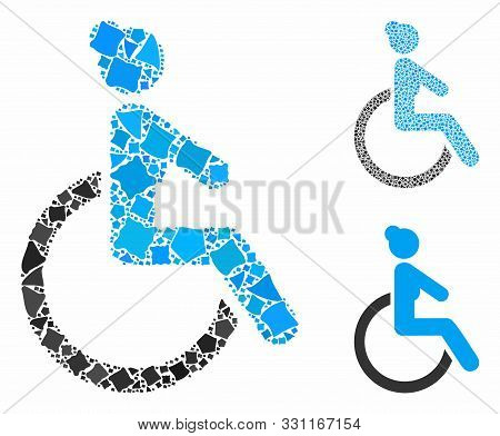 Disabled woman mosaic of joggly elements in different sizes and color hues, based on disabled woman icon. Vector rough elements are organized into collage. poster
