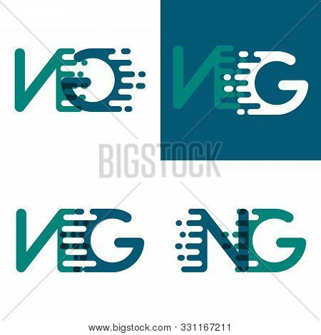 Ng Letters Logo With Accent Speed In Green And Dark Purple