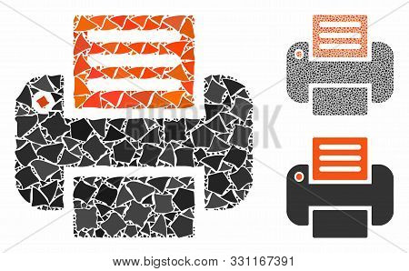 Print Mosaic Of Abrupt Elements In Various Sizes And Color Tones, Based On Print Icon. Vector Abrupt